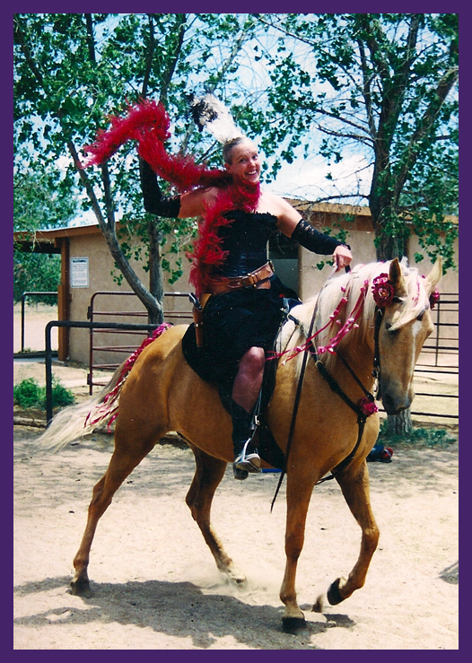 A Pussy Posse member  (Calico) on her way to the Buckaroo Ball.  The ball was held at the Gan Eden Ranch in Santa Fe, NM  1998.